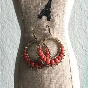 Coral Dangle Hoop Earrings